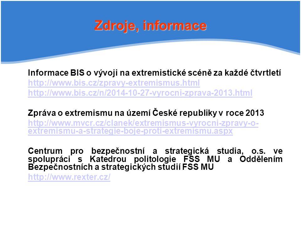 Zdroje, informace Informace BIS o vývoji na extremistické scéně za každé čtvrtletí. http://www.bis.cz/zpravy-extremismus.html.