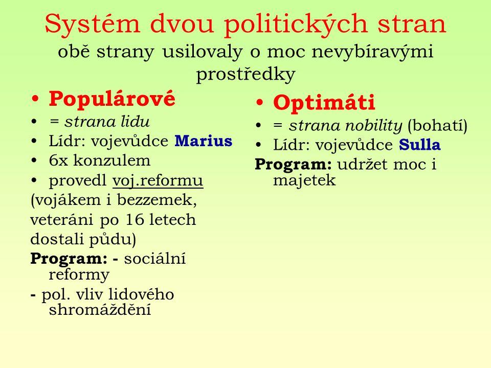 Systém dvou politických stran obě strany usilovaly o moc nevybíravými prostředky