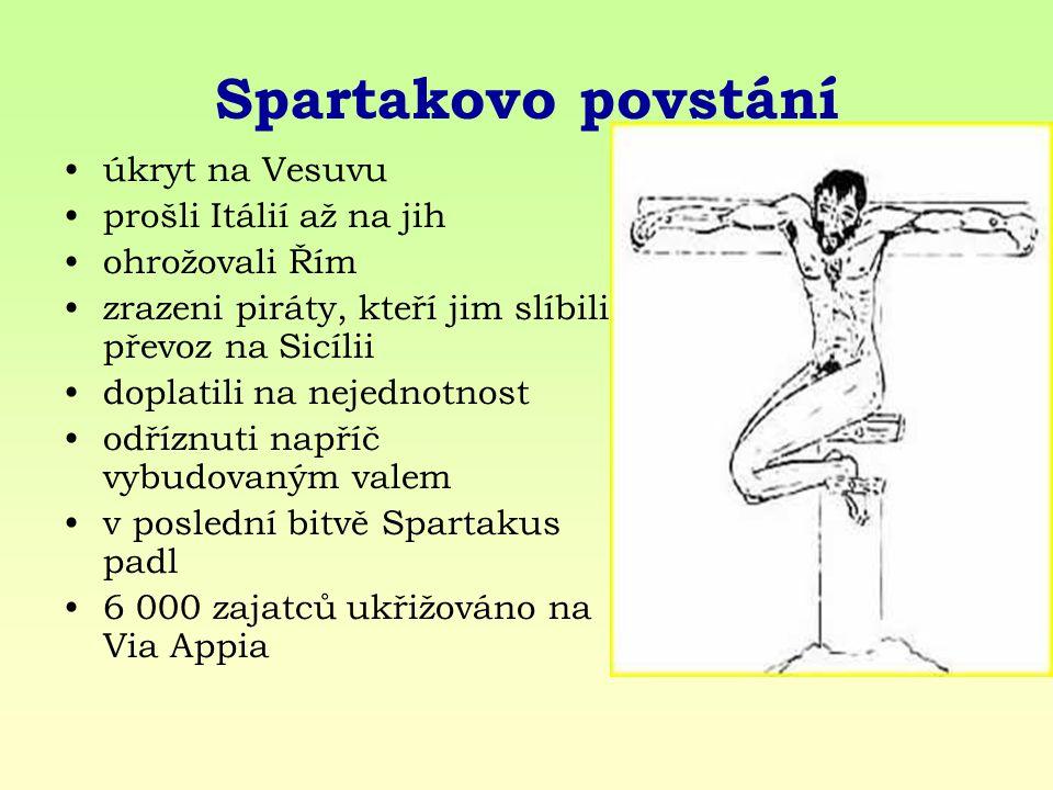 Spartakovo povstání úkryt na Vesuvu prošli Itálií až na jih