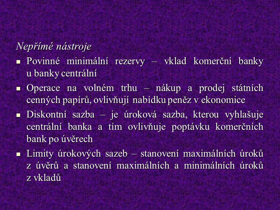 Nepřímé nástroje Povinné minimální rezervy – vklad komerční banky u banky centrální.