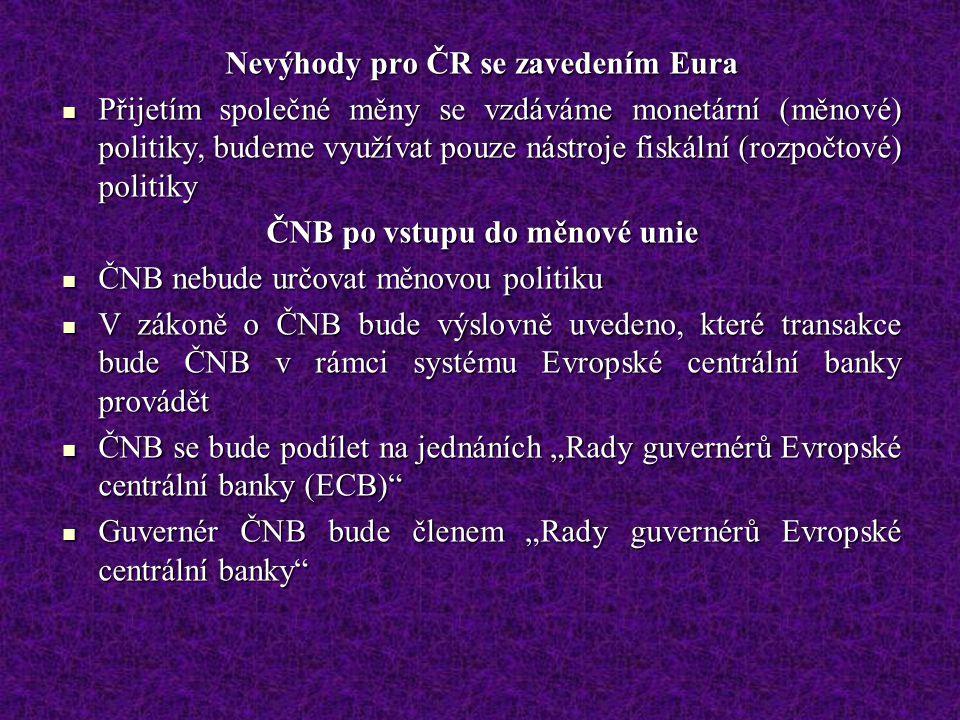 Nevýhody pro ČR se zavedením Eura ČNB po vstupu do měnové unie