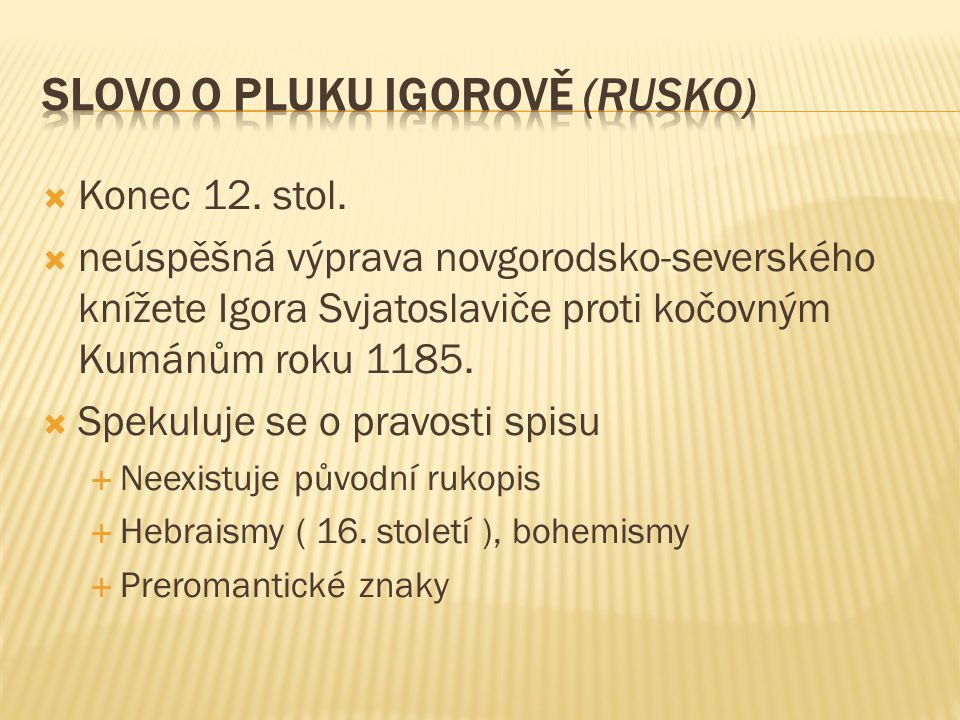 Slovo o pluku igorově (RUSKO)