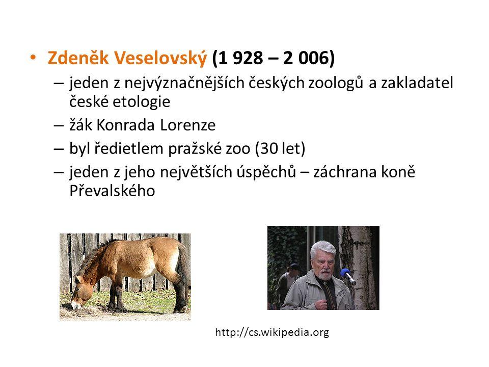 Zdeněk Veselovský (1 928 – 2 006) jeden z nejvýznačnějších českých zoologů a zakladatel české etologie.