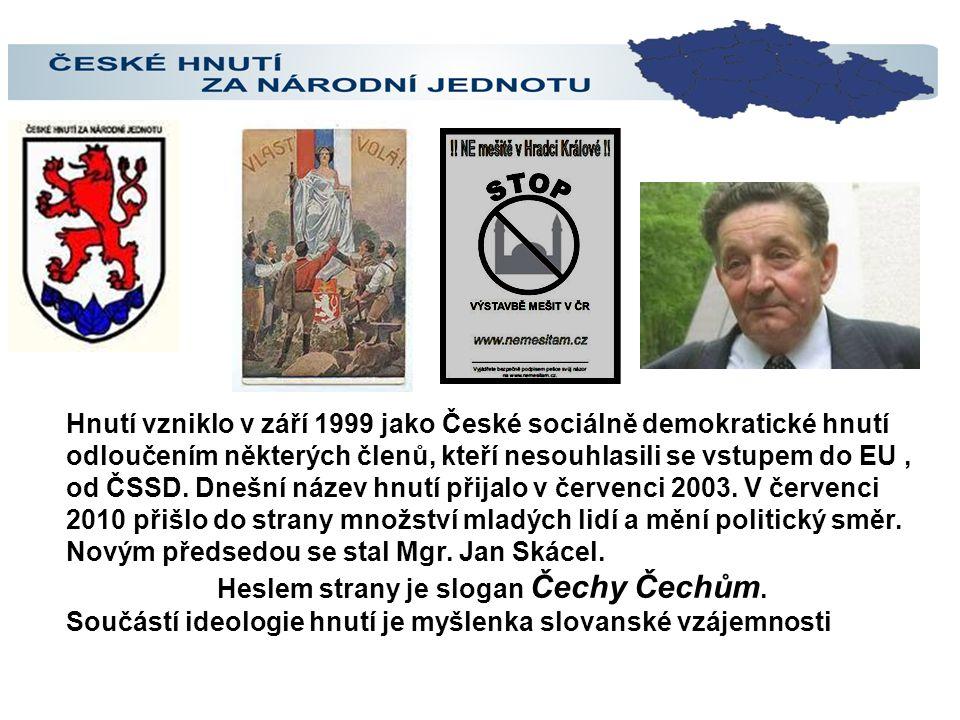 Heslem strany je slogan Čechy Čechům.