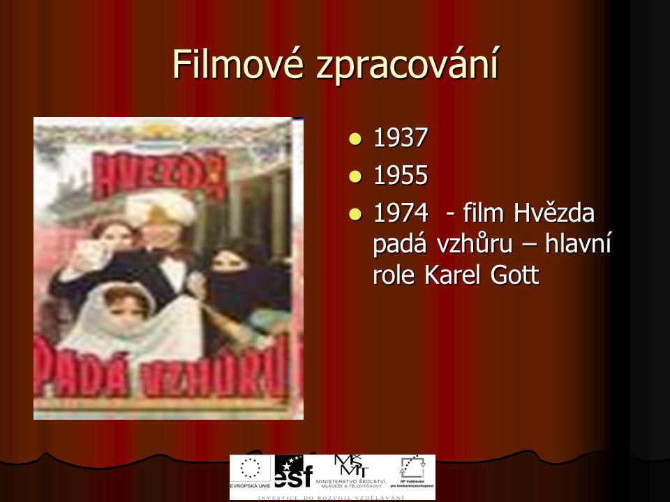 Filmové zpracování 1937 1955 1974 - film Hvězda padá vzhůru – hlavní role Karel Gott