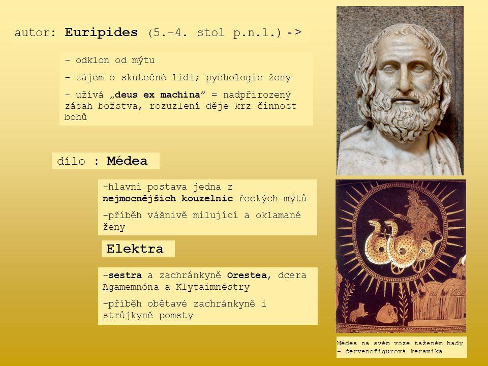 Elektra autor: Euripides (5.-4. stol p.n.l.) - > dílo : Médea