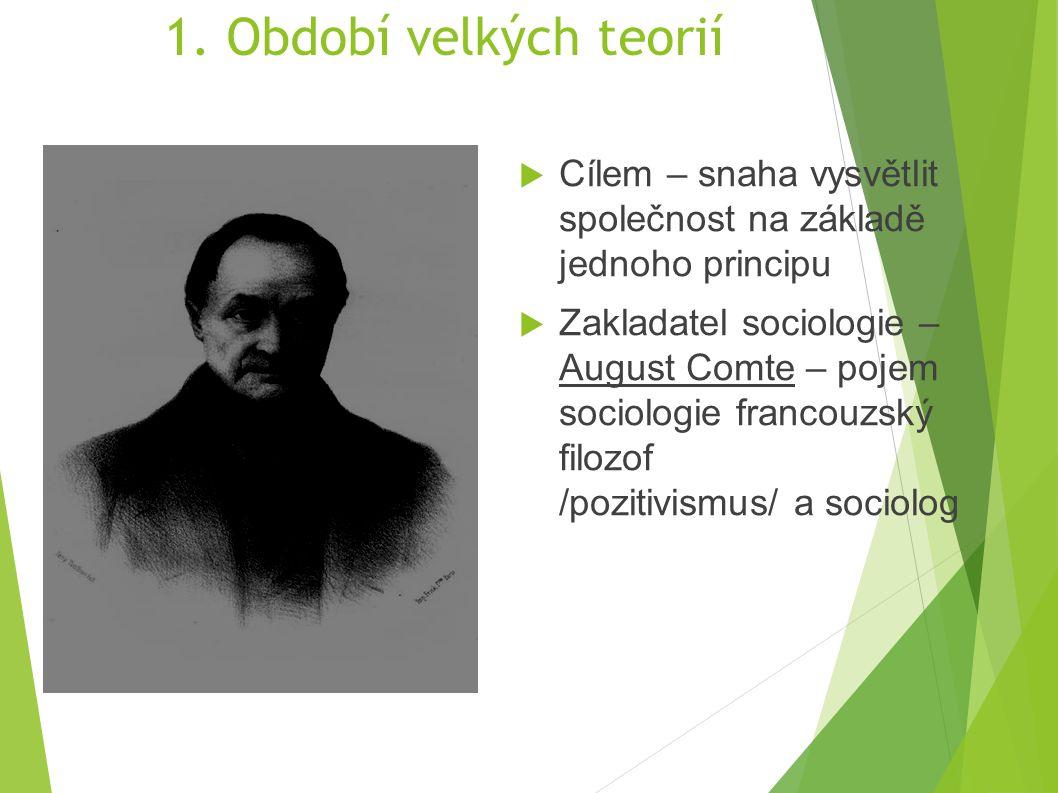 1. Období velkých teorií Cílem – snaha vysvětlit společnost na základě jednoho principu.