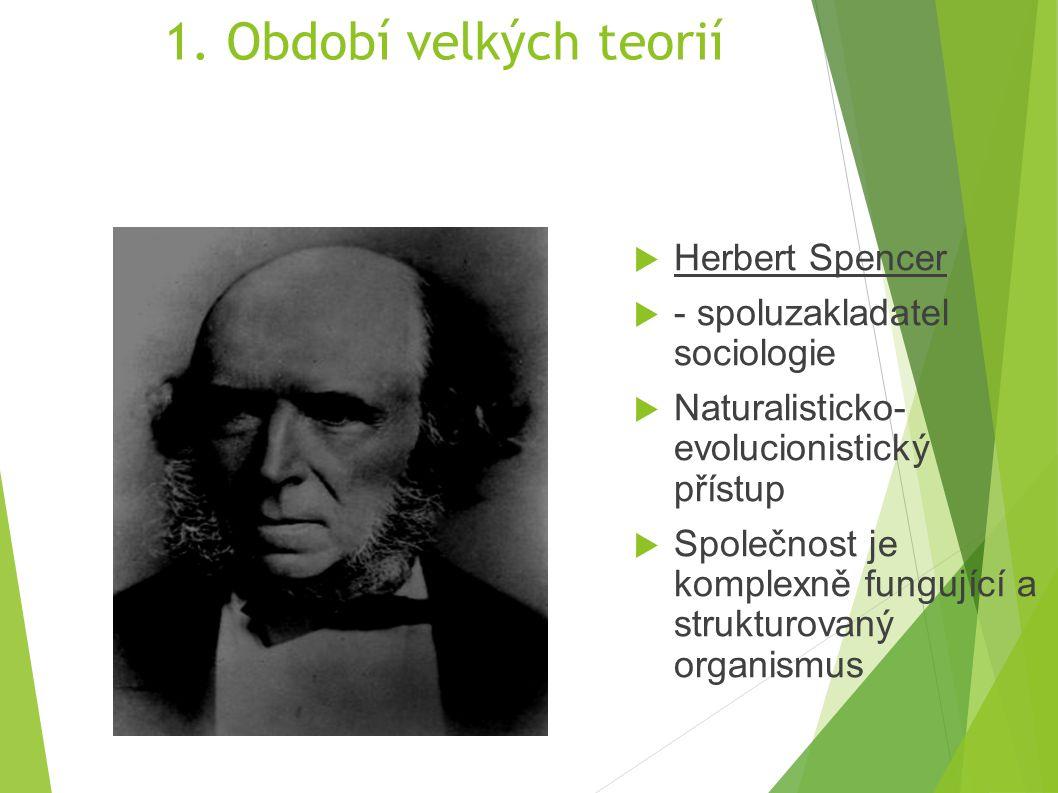 1. Období velkých teorií Herbert Spencer - spoluzakladatel sociologie