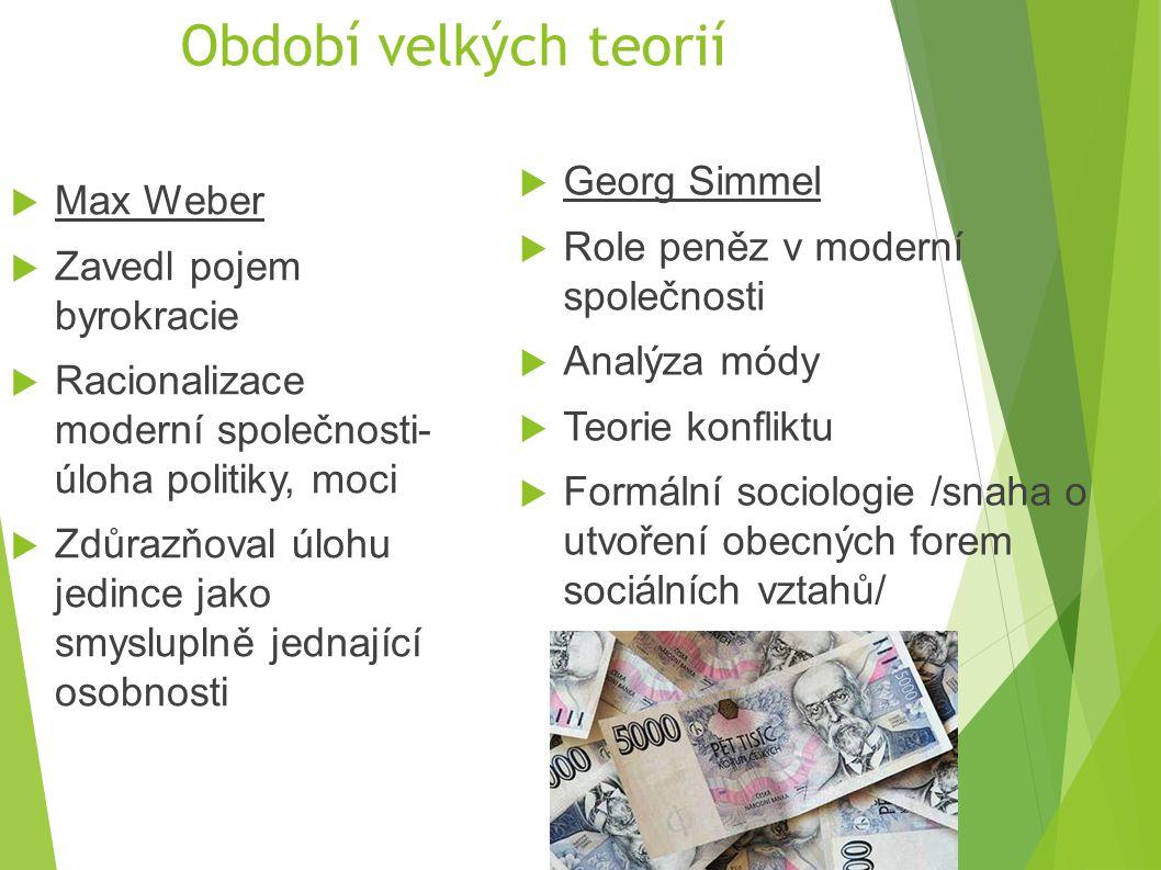 Období velkých teorií Georg Simmel Max Weber