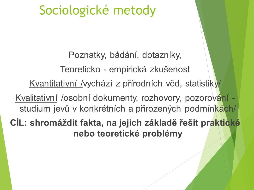Sociologické metody Poznatky, bádání, dotazníky,