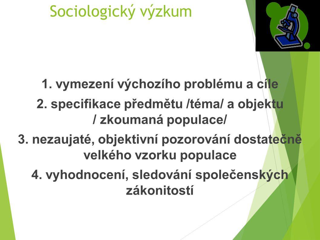 Sociologický výzkum 1. vymezení výchozího problému a cíle