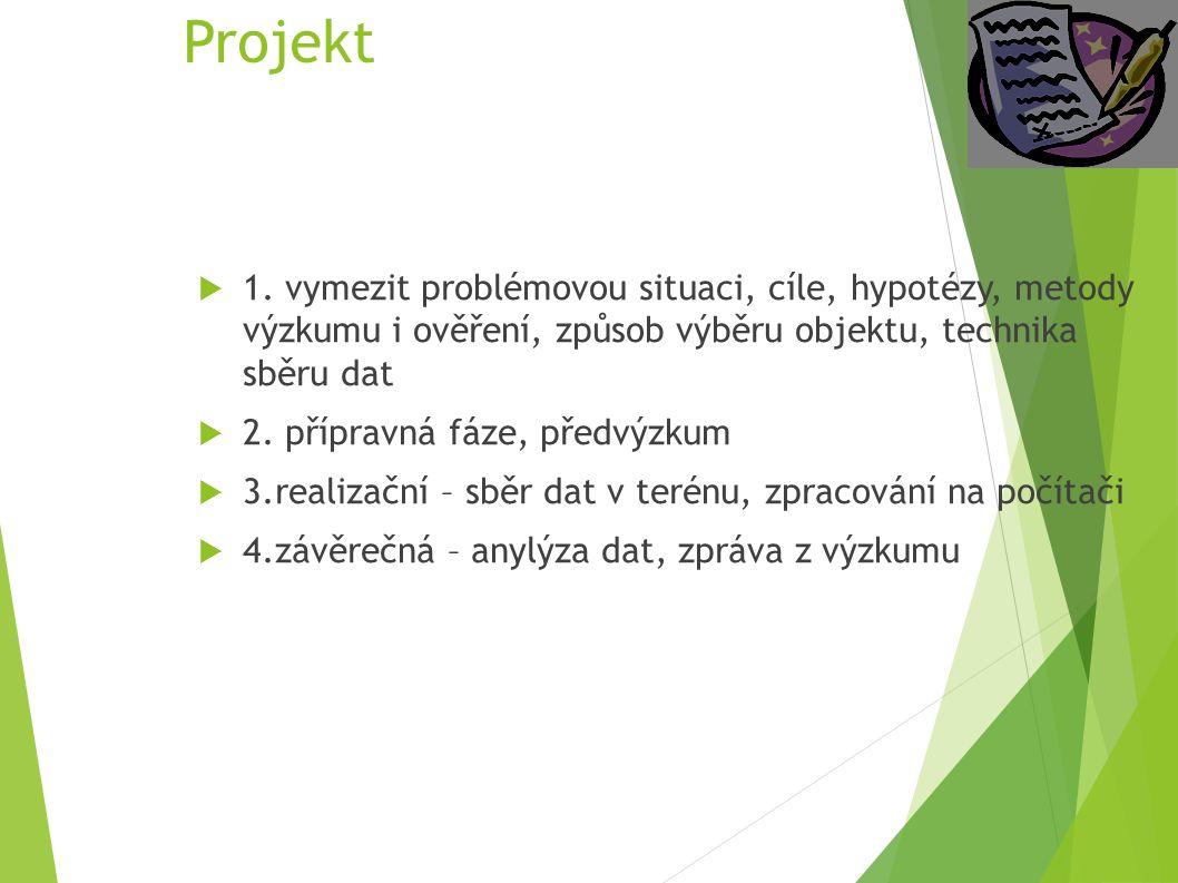 Projekt 1. vymezit problémovou situaci, cíle, hypotézy, metody výzkumu i ověření, způsob výběru objektu, technika sběru dat.