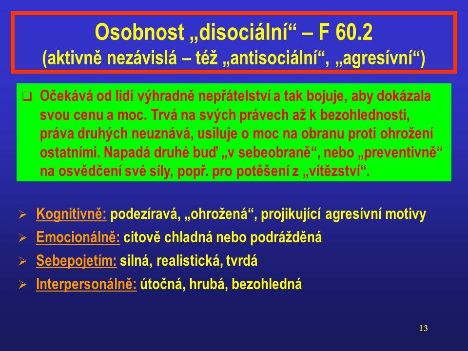 """Osobnost """"disociální – F 60"""