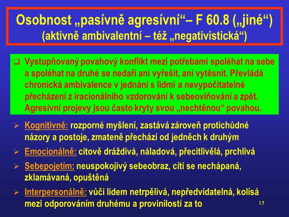 """Osobnost """"pasívně agresívní – F 60"""