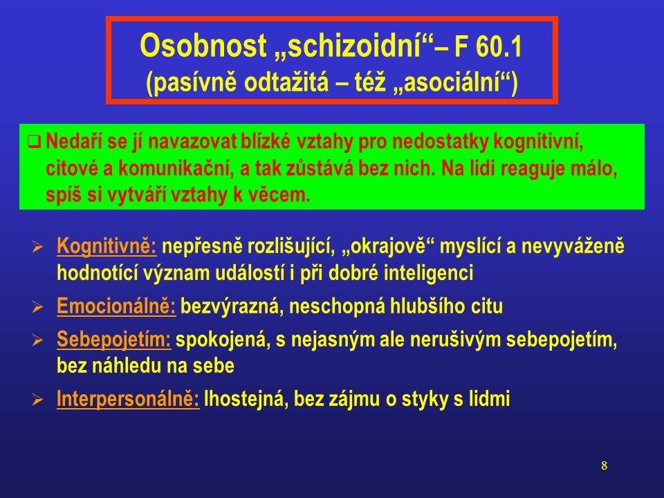 """Osobnost """"schizoidní – F 60.1 (pasívně odtažitá – též """"asociální )"""