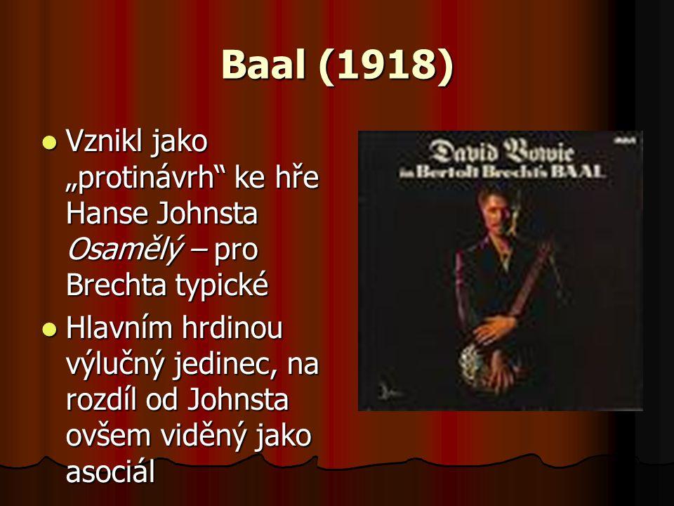 """Baal (1918) Vznikl jako """"protinávrh ke hře Hanse Johnsta Osamělý – pro Brechta typické."""