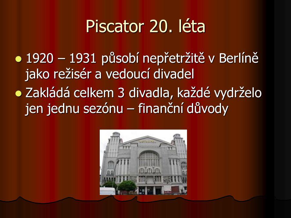 Piscator 20. léta 1920 – 1931 působí nepřetržitě v Berlíně jako režisér a vedoucí divadel.