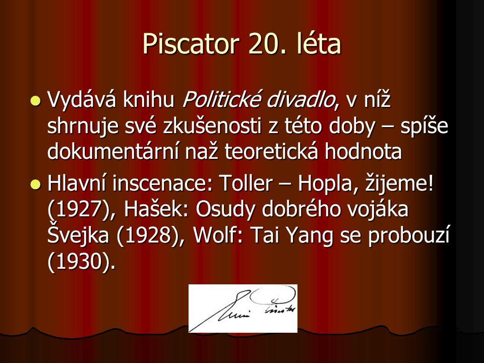 Piscator 20. léta Vydává knihu Politické divadlo, v níž shrnuje své zkušenosti z této doby – spíše dokumentární naž teoretická hodnota.