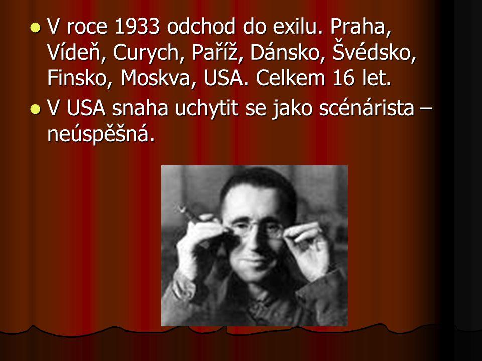 V roce 1933 odchod do exilu. Praha, Vídeň, Curych, Paříž, Dánsko, Švédsko, Finsko, Moskva, USA. Celkem 16 let.