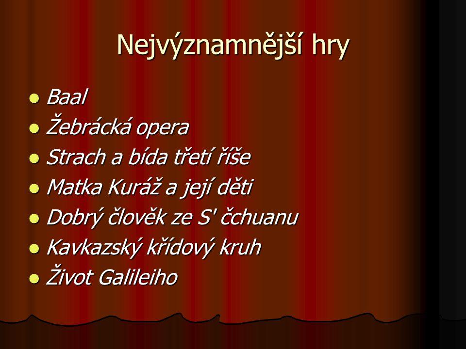 Nejvýznamnější hry Baal Žebrácká opera Strach a bída třetí říše