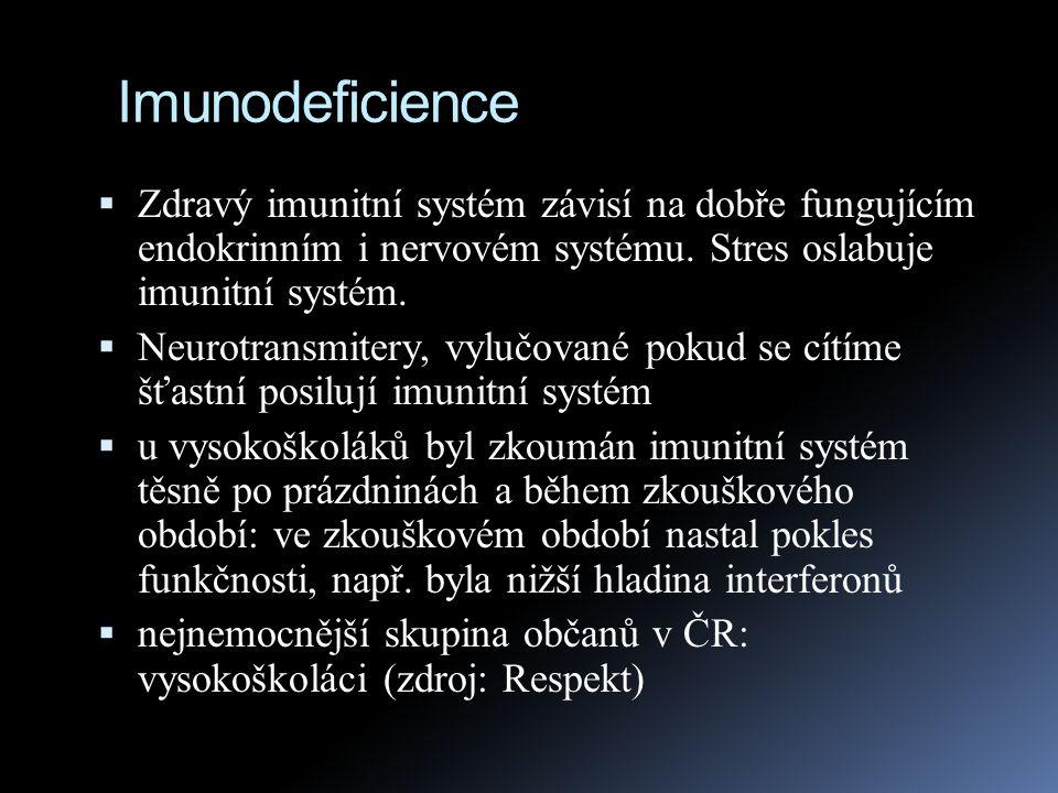 Imunodeficience Zdravý imunitní systém závisí na dobře fungujícím endokrinním i nervovém systému. Stres oslabuje imunitní systém.