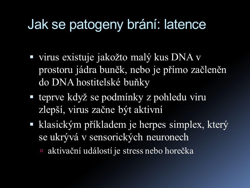 Jak se patogeny brání: latence