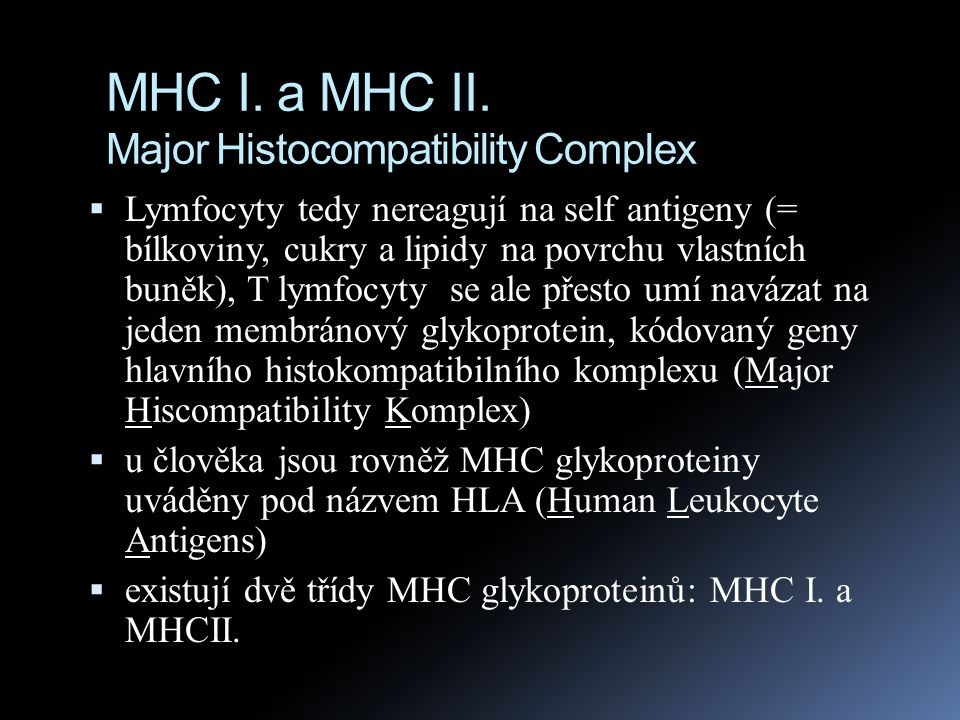 MHC I. a MHC II. Major Histocompatibility Complex