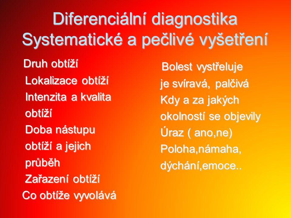 Diferenciální diagnostika Systematické a pečlivé vyšetření