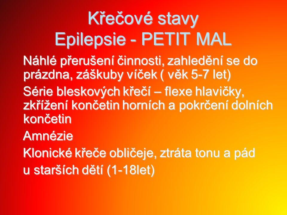 Křečové stavy Epilepsie - PETIT MAL