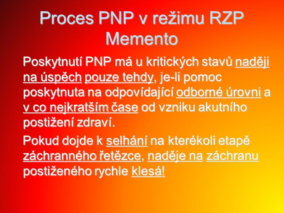 Proces PNP v režimu RZP Memento