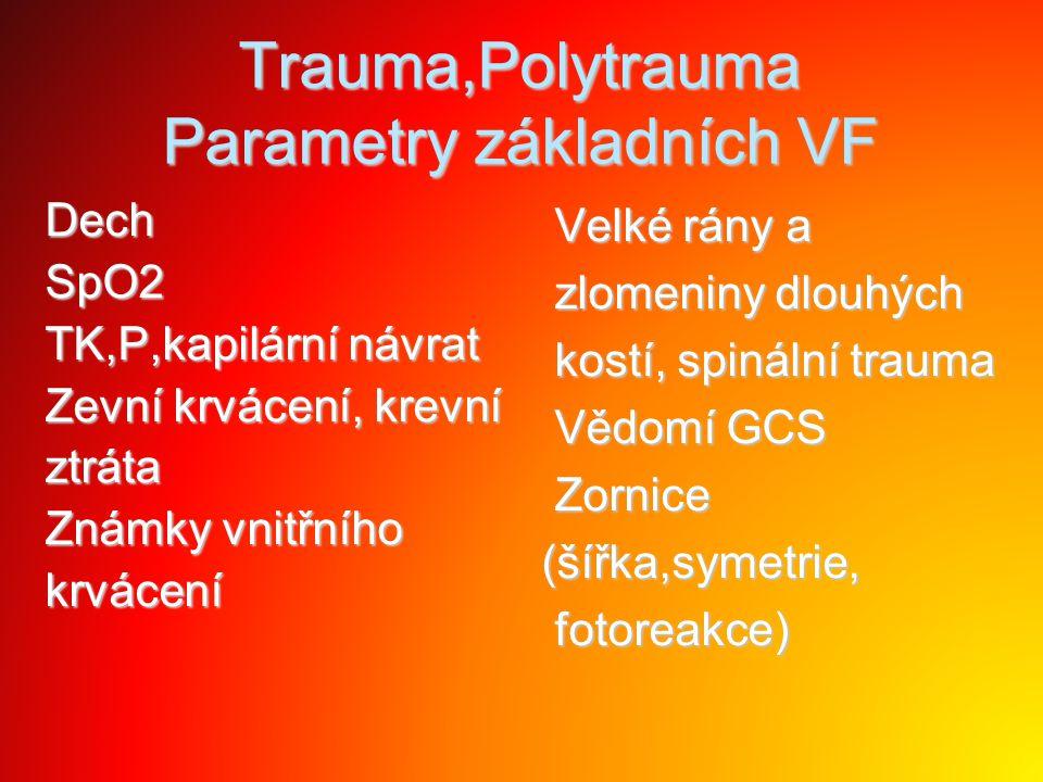 Trauma,Polytrauma Parametry základních VF
