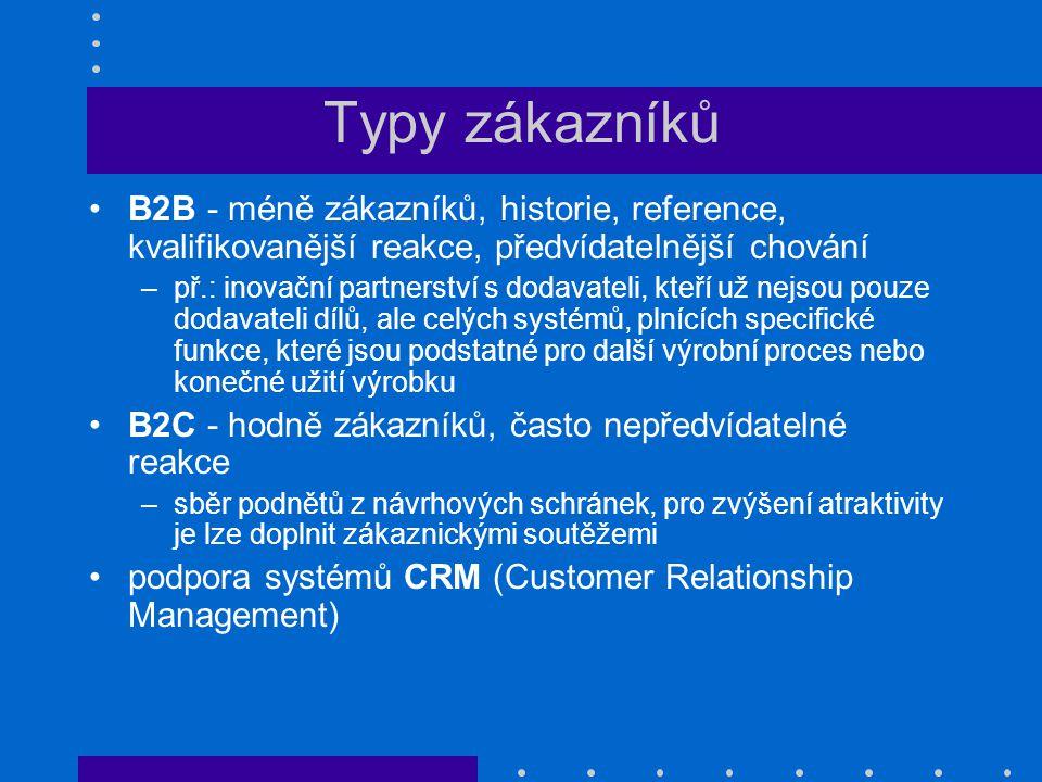 Typy zákazníků B2B - méně zákazníků, historie, reference, kvalifikovanější reakce, předvídatelnější chování.