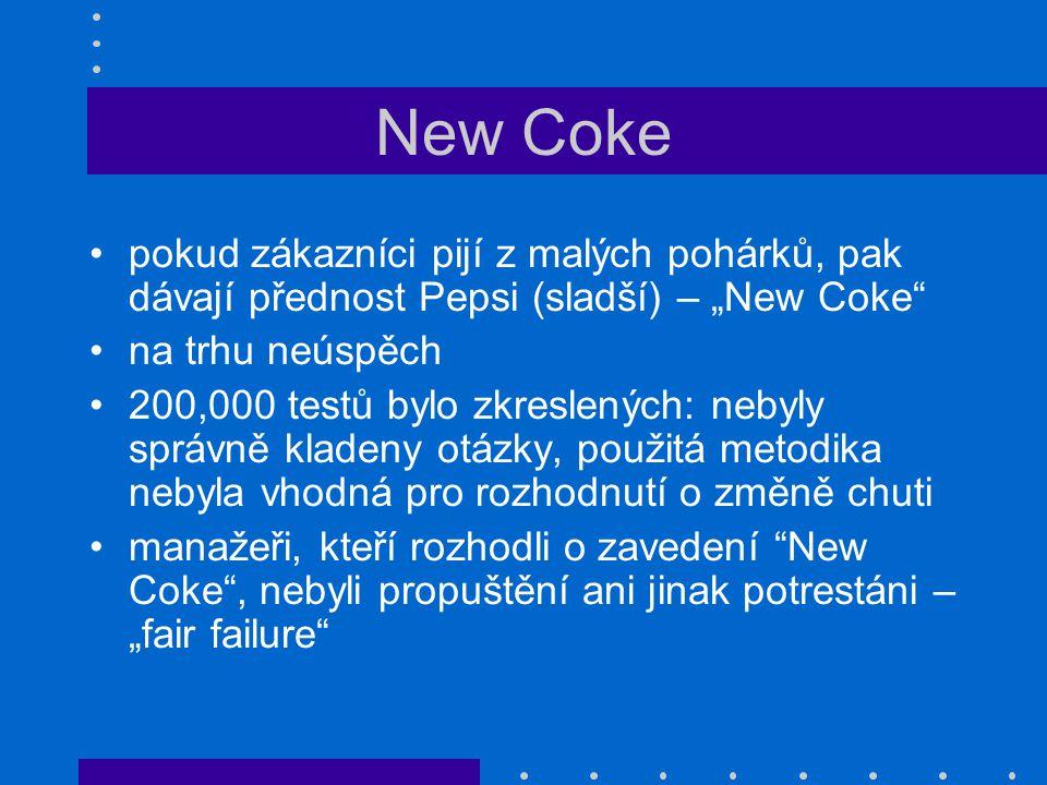 """New Coke pokud zákazníci pijí z malých pohárků, pak dávají přednost Pepsi (sladší) – """"New Coke na trhu neúspěch."""