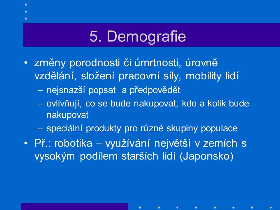 5. Demografie změny porodnosti či úmrtnosti, úrovně vzdělání, složení pracovní síly, mobility lidí.