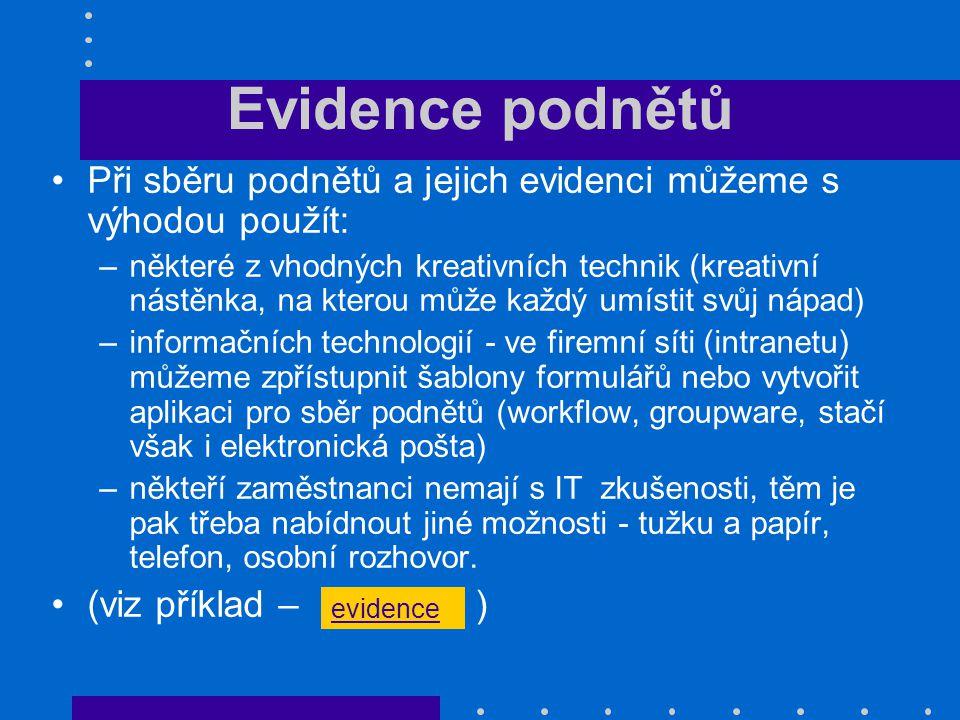 Evidence podnětů Při sběru podnětů a jejich evidenci můžeme s výhodou použít: