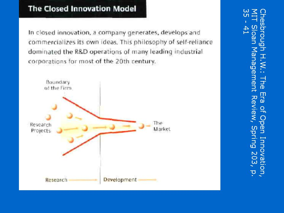 Chesbrough H.W.: The Era of Open Innovation, MIT Sloan Management Review, Spring 203, p. 35 - 41