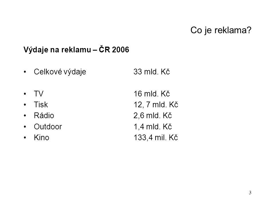 Co je reklama Výdaje na reklamu – ČR 2006 Celkové výdaje 33 mld. Kč