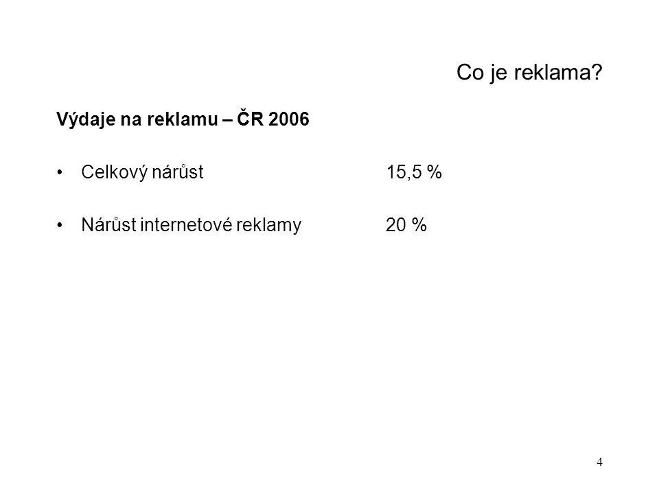 Co je reklama Výdaje na reklamu – ČR 2006 Celkový nárůst 15,5 %