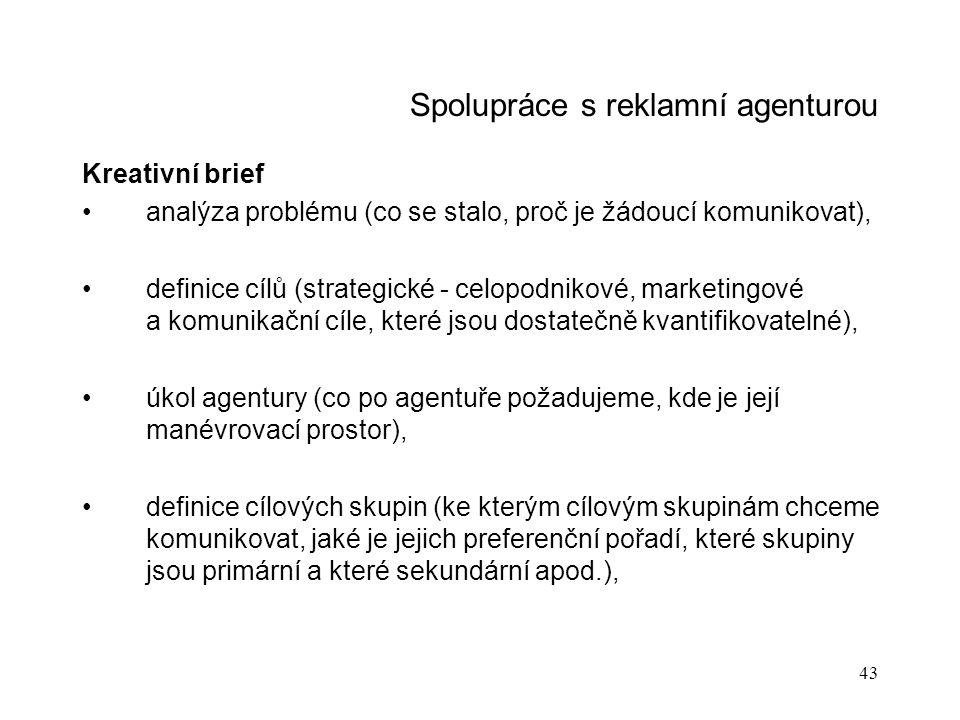 Spolupráce s reklamní agenturou