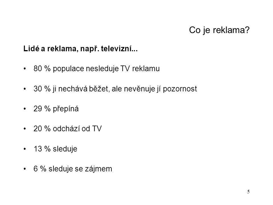 Co je reklama Lidé a reklama, např. televizní...