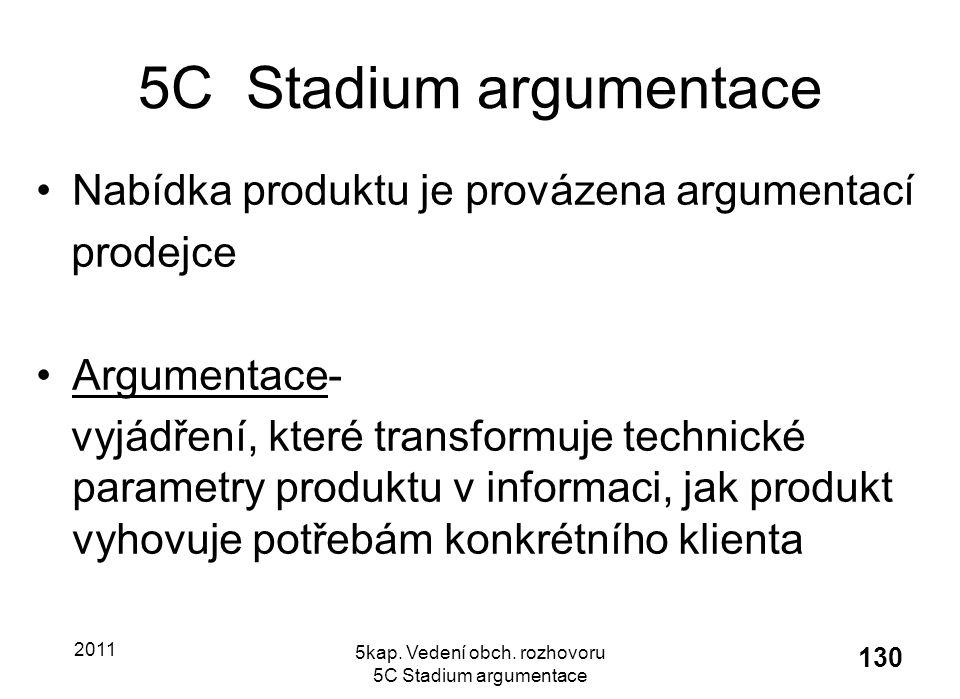 5kap. Vedení obch. rozhovoru 5C Stadium argumentace