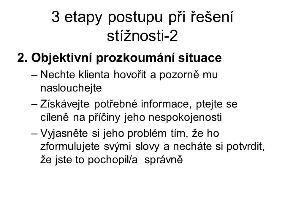 3 etapy postupu při řešení stížnosti-2