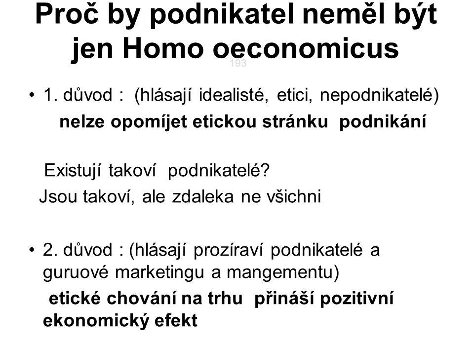 Proč by podnikatel neměl být jen Homo oeconomicus