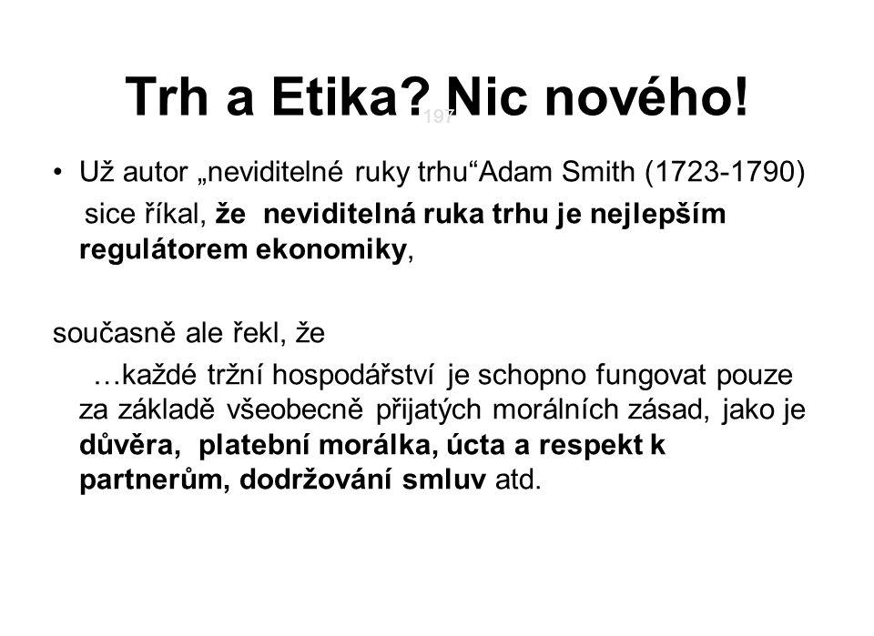 "Trh a Etika Nic nového! 197. 197. Už autor ""neviditelné ruky trhu Adam Smith (1723-1790)"
