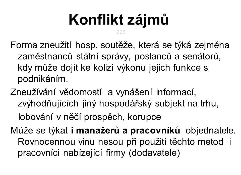 Konflikt zájmů 228.