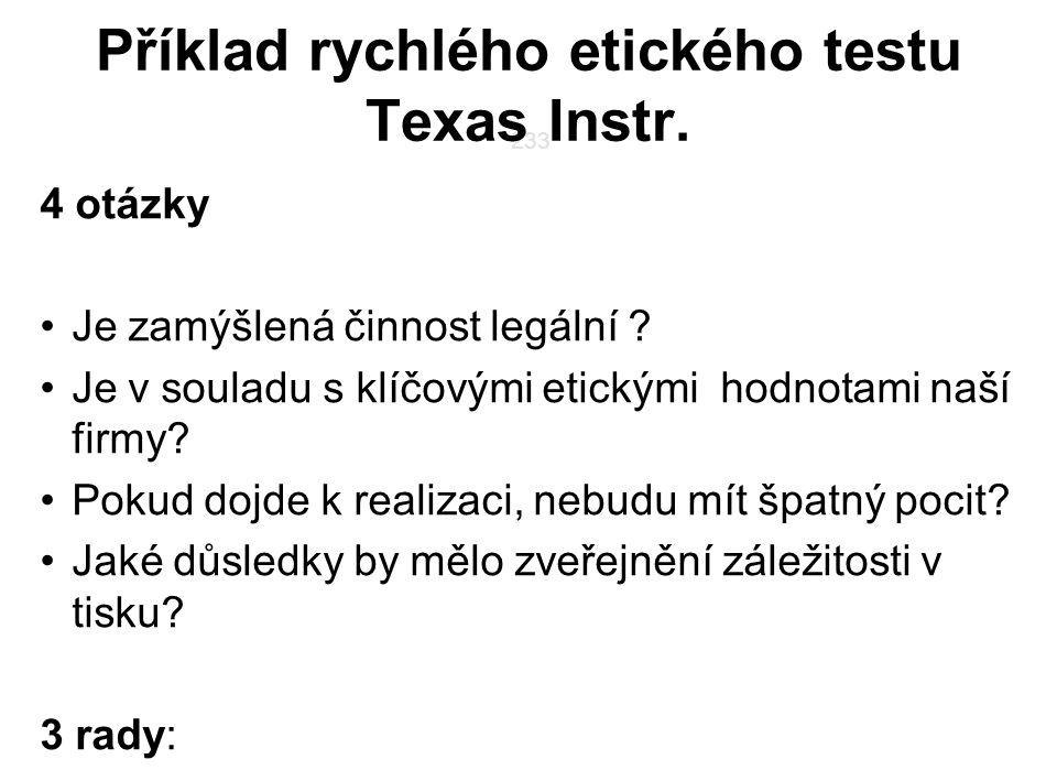 Příklad rychlého etického testu Texas Instr.