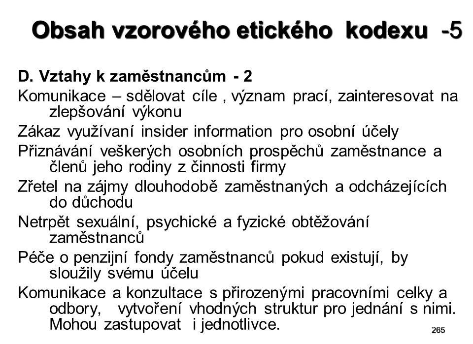 Obsah vzorového etického kodexu -5