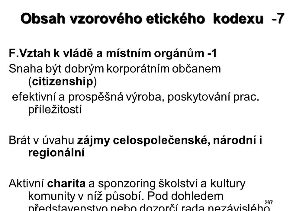 Obsah vzorového etického kodexu -7