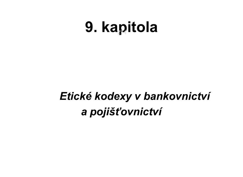 Etické kodexy v bankovnictví a pojišťovnictví