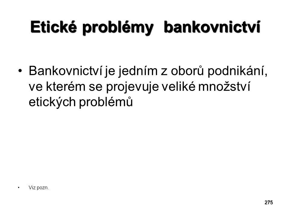 Etické problémy bankovnictví